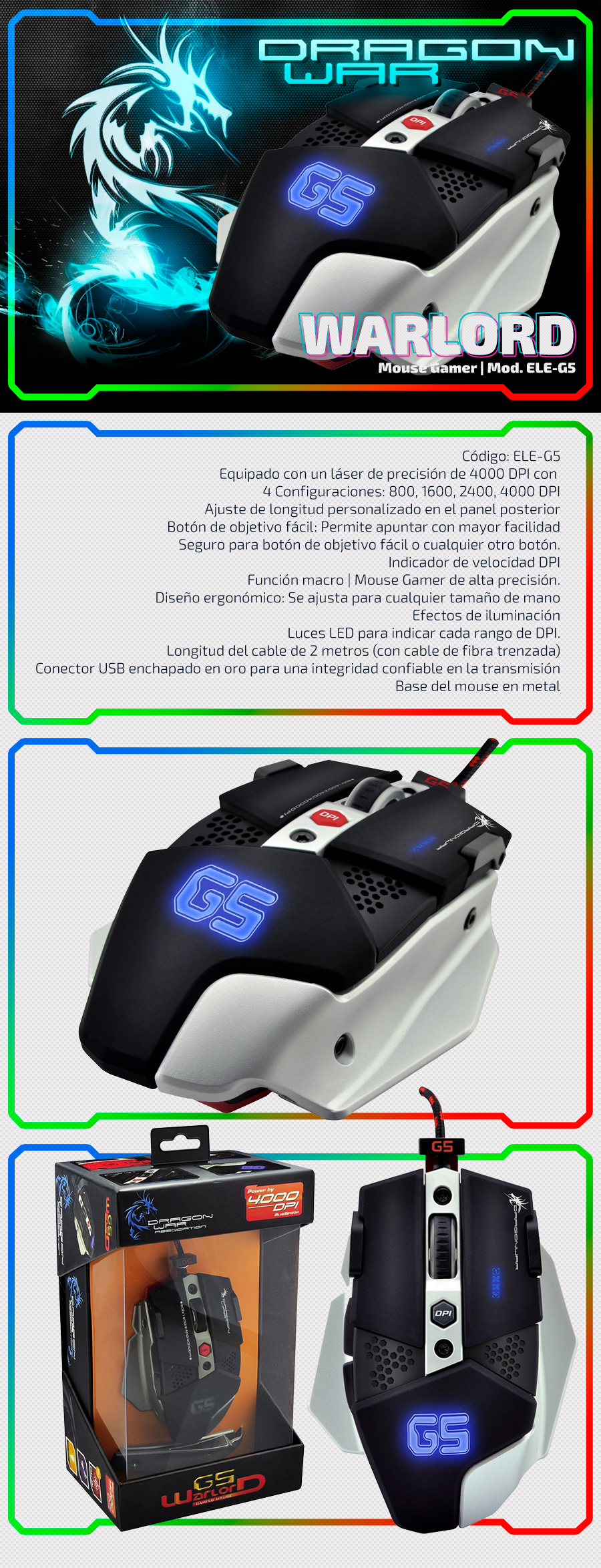Warlord | Dragon War - Mouse Gaming  Blue Sensor